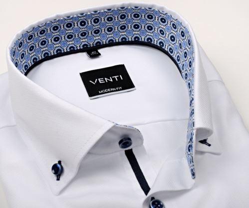 Venti Modern Fit – bílá košile se strukturou a modrým vnitřním límcem - extra prodloužený rukáv