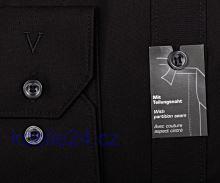 Marvelis Body Fit – čierna košeľa s italským golierom a rozdelovacím stehom