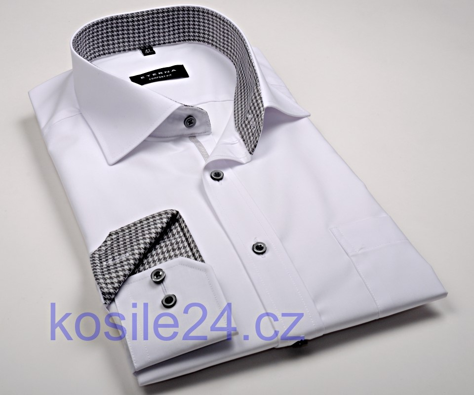 6878addd713 Eterna Comfort Fit Chambray – biela košeľa s čierno-bielym vnútorným  golierom - predĺžený rukáv