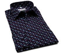 Marvelis Comfort Fit – tmavomodrá košile s trojbarevnými ornamenty