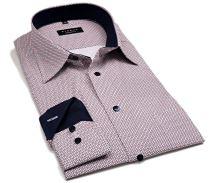 Eterna Comfort Fit – košeľa s červeno-modrým vzorom a vnútorným golierom - extra predĺžený rukáv
