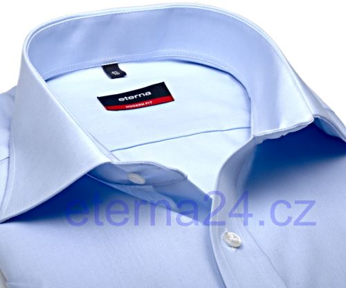 Eterna Modern Fit Uni Popeline - světle modrá s kapsičkou