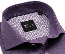 Venti Slim Fit – fialová košeľa s bielym rastrovaním - extra predĺžený rukáv