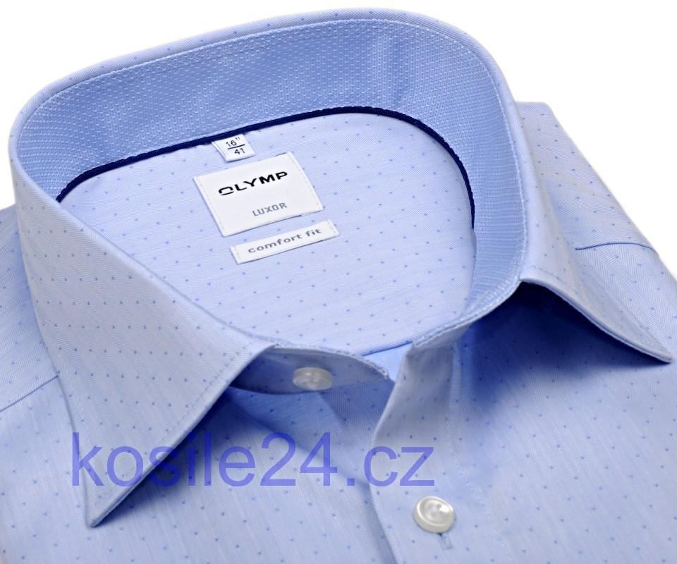 098cb89e18f Olymp Comfort Fit Rybí kost – světle modrá košile s puntíky a vnitřním  límcem - prodloužený