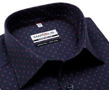 Marvelis Comfort Fit – tmavomodrá košile s jemnou strukturou a červeným vzorem