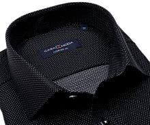 Casa Moda Comfort Fit – černá košile s vetkaným vzorem a stříbrnými puntíky