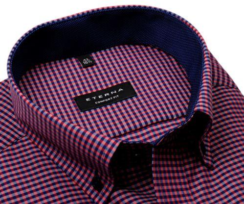Eterna Comfort Fit – červeno-modrá károvaná košile s vnitřním límcem - krátký rukáv