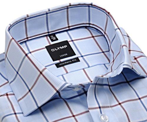 Olymp Modern Fit Twill – luxusní světle modrá košile s červeno-modrým kárem