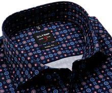 Olymp Level Five – designová tmavomodrá košile s modro-červeným vzorem - prodloužený rukáv