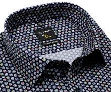 Olymp Super Slim – designová tmavá košile s barevnými kolečky