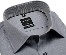 Olymp Modern Fit – svetlosivá košeľa s bielym rastrovaním a votkaným vzorom - predĺžený rukáv