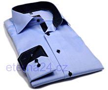Eterna Modern Fit Fine Oxford – svetlomodrá košeľa s tmavomodrým vnútorným golierom, manžetou a légou - predĺžený rukáv