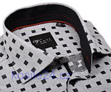 Venti Slim Fit – sivá košeľa s mozaikou s vnútorným golierom, manžetou a légou