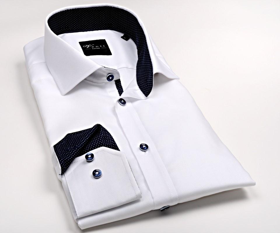 f8b395dc4dbf Venti Slim Fit – biela košeľa so štruktúrou a tmavomodrým vnútorným golierom  - extra predĺžený rukáv