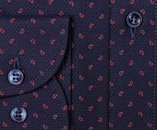 Marvelis Modern Fit – tmavomodrá košeľa s jemnou štruktúrou a červeným vzorom - predĺžený rukáv