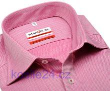 Marvelis Modern Fit – svetločervená košeľa s votkaným vzorom - predĺžený rukáv