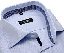 Eterna Comfort Fit Twill – světle modrá košile s modro-bílým vnitřním límcem, manžetou a légou