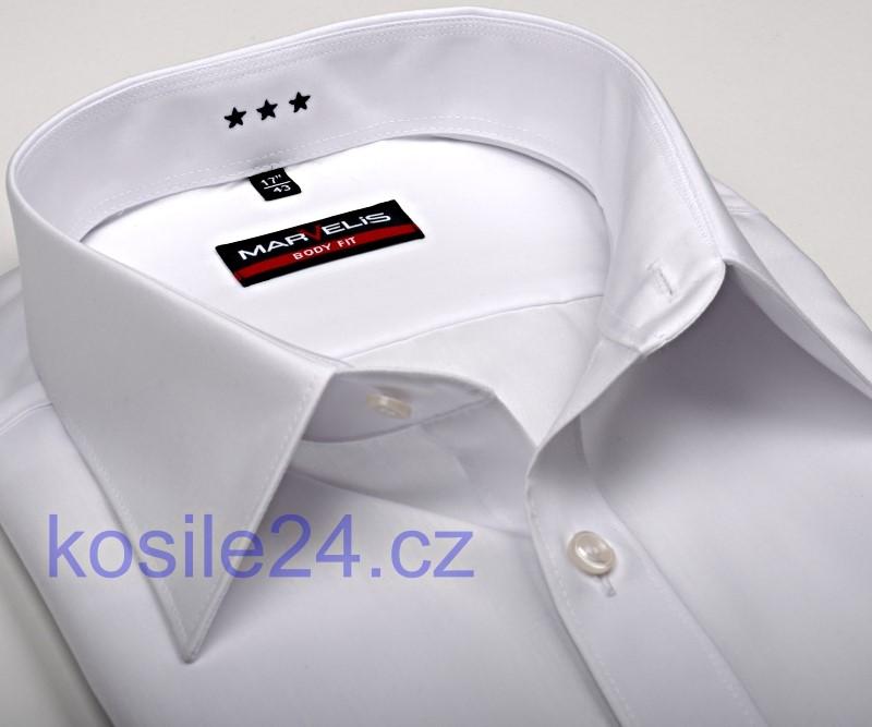 26bb21208869 Marvelis Body Fit – biela košeľa s italským golierom a rozdeľovacím stehom