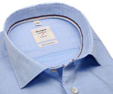Olymp Level Five Smart Business – svetlomodrá košeľa s votkaným bielym vzorom
