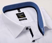 Olymp Super Slim – biela košeľa s modro-bielym vnútorným golierom a manžetou