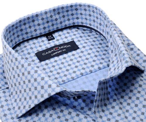 Casa Moda Comfort Fit – luxusná svetlomodrá košeľa s modro-béžovým vzorom