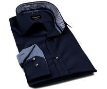 Venti Body Fit Twill – tmavě modrá košile s modro-bílým vnitřním límcem