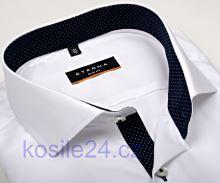 Eterna Slim Fit Fine Oxford – bílá košile s tmavě modrým vnitřním límcem - extra prodloužený rukáv
