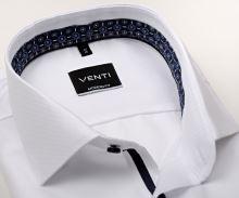 Venti Modern Fit – biela košeľa so štruktúrou a tmavomodrým vnútorným golierom a manžetou