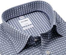 Olymp Comfort Fit Luxor – košile s modrým tištěným vzorem