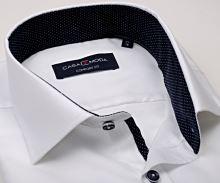 Casa Moda Comfort Fit Premium – luxusná biela košeľa so štruktúrou a tmavomodrým vnútorným golierom