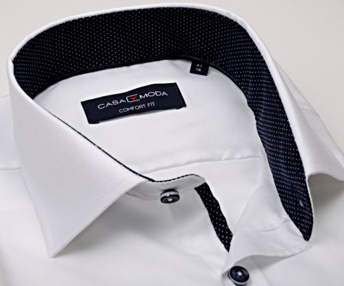 Casa Moda Comfort Fit Premium – luxusní bílá košile se strukturou a vnitřním límcem - extra prodloužený rukáv