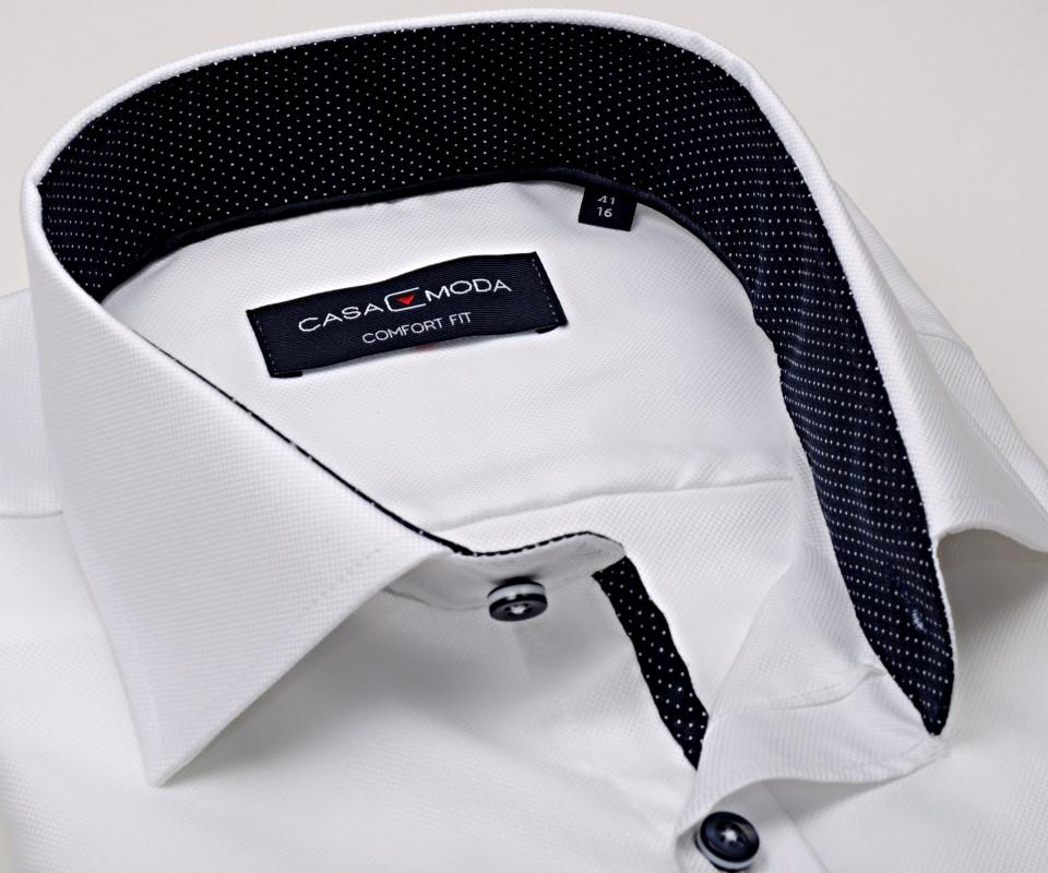c652deeb686 Casa Moda Comfort Fit Premium – luxusní bílá košile se strukturou a  vnitřním límcem - extra prodloužený rukáv