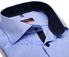 Eterna Modern Fit Fine Oxford – světle modrá košile s tmavě modrým vnitřním límcem - krátký rukáv