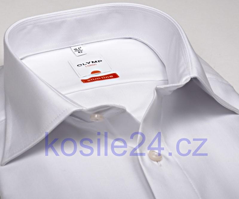 30daf95e379 Luxusní bílá slim košile Olymp Rybí kost - dlouhý rukáv