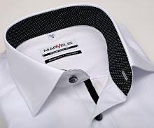 Marvelis Comfort Fit – luxusná biela košeľa s diagonálnou štruktúrou a vnútorným golierom