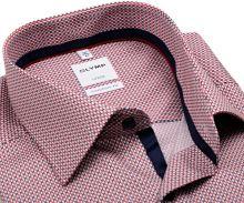 Olymp Comfort Fit – košeľa s červeno-modrým vzorom - krátky rukáv