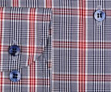 Marvelis Comfort Fit - košeľa s modro-červeným károm a tmavomodrým vnútorným golierom