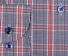 Marvelis Comfort Fit – košile s modro-červeným kárem a tmavomodrým vnitřním límcem