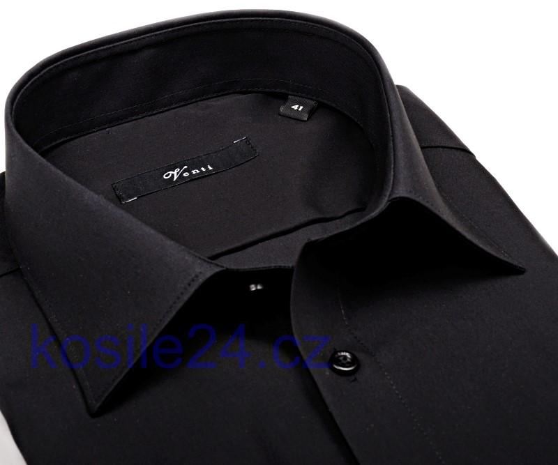 d563be097 Pánska čierna slim košeľa Venti - dlhý rukáv