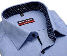Marvelis Body Fit – svetlomodrá košeľa s votkaným vzorom a vnútorným golierom - predĺžený rukáv