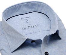 Olymp Super Slim 24/Seven – svetlomodrá elastická košeľa s bielym rastrovaním