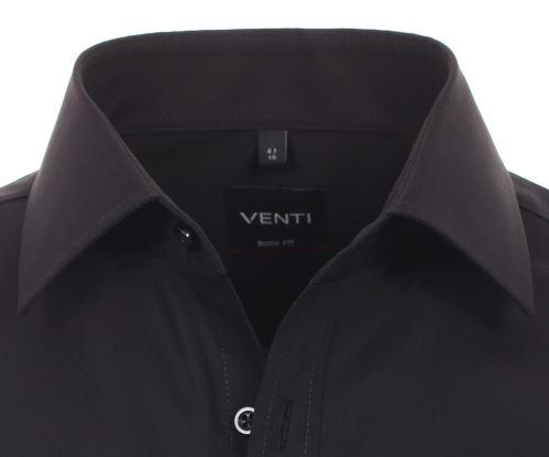 Venti Body Fit – černá košile - extra prodloužený rukáv