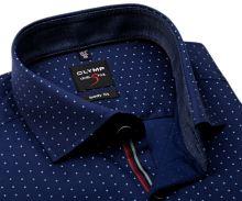 Olymp Level Five – tmavomodrá košile s puntíky a vnitřním límcem - prodloužený rukáv