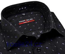 Marvelis Body Fit – antracitová košeľa s votkaným vzorom