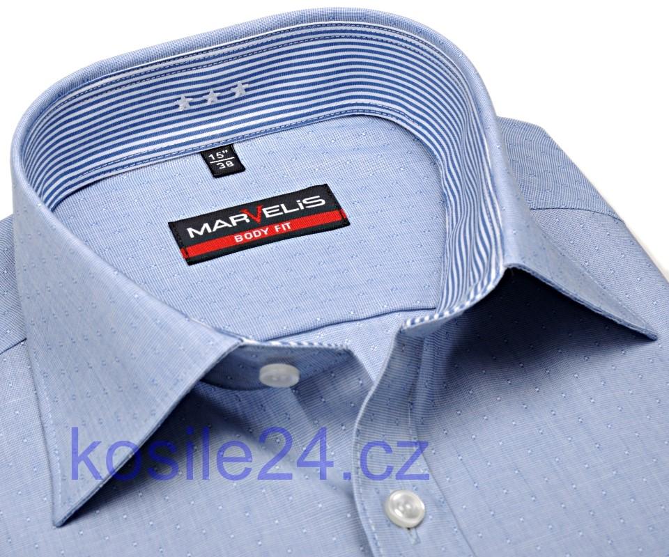 Marvelis Body Fit – modrá košile s vetkaným vzorem a vnitřním límcem -  prodloužený rukáv eb92b8968e