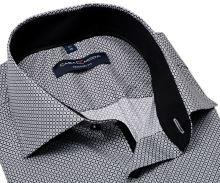 Casa Moda Modern Fit Premium – košeľa s čierno-sivým vzorom a vnútorným golierom - extra predĺžený rukáv