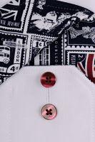 Eterna Modern Fit – biela košeľa s vnútorným golierom s anglickými motívmi - extra predĺžený rukáv