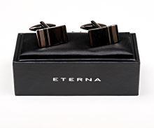 Manžetový gombík Eterna - obdĺžnikový s vloženými páskami - sivý, matný