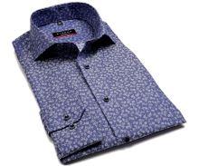 Eterna Modern Fit – modrá košeľa s votkaným vzorom