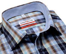 Marvelis Modern Fit - košeľa s modro-hnedým károm a svetlomodrým vnútorným golierom